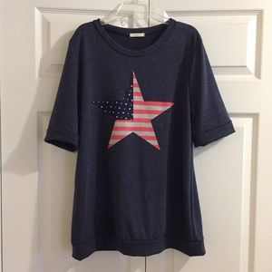 12 PM by Mon Ami 4th of July star flag navy shirt